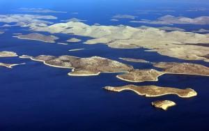 Vue aérienne des îles Kornati