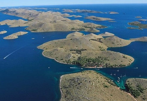 Aerial view Kornati islands with fishermen's houses