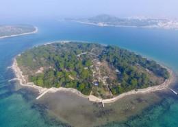 Panoramablick auf Insel Mali Vinik mit Fischerhaus Agata